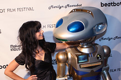 Tara Langella has fun with the Robot Millennia