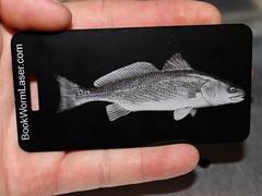 etching engraving laser redfish luggagetag reddrum canyouetchit bookwormlaserdesign
