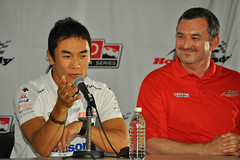 Takuma and Charlie at the welcoming press conference (HondaIndyToronto) Tags: toronto ontario canada honda indy driver interview indycar pressconference takumasato mediacentre izod exhibitionplace streetsoftoronto allstreamcentre charliejohnstone rahallettermanlaniganracing richardwintle ortsbointernationalmediacentre