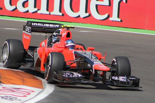 Charles Pic in his Marussia F1 car at the 2012 European Grand Prix at Valencia