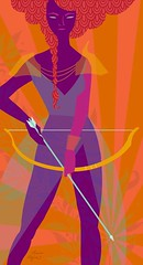 The Archer (Claire Mojher) Tags: woman art nature girl fashion lady illustration painting hair design fight pattern dress fierce drawing decorative style battle armor bow arrow archery archer braid katniss hungergames