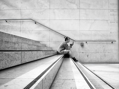 Tweet This (Sean Batten) Tags: uk england blackandwhite bw london girl lines stairs nikon sitting steps britishmuseum tweet d90 twitter