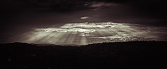 Sunset in Froland (jcolsen) Tags: light blackandwhite bw panorama sun sepia landscape cloudy nikond100 explore rays d100 beams tintedbw austagder tintedblackandwhite froland