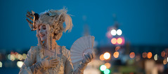 Kate Mior pro living statue (Derekwin) Tags: white canada festival night living fan doll novascotia dress bokeh wig buskers halifax katemior httpwwwkatemiorcom