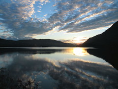 lakes (cubicspace) Tags: morning summer sky sun holiday reflection nature water clouds sunrise trek early photo horizon lakes peaceful hills formation lanscape