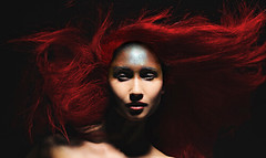 redhair (zippr2012) Tags: portrait wind makeup kriegsbemalung rotehaare wehen