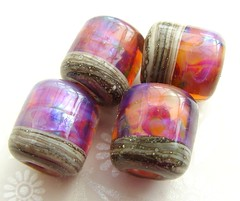 Sunset Hipsters (Glittering Prize - Trudi) Tags: pink glass beads hipsters handmade barrel hippy chub sis lampwork artisan