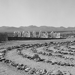 weird sh*t in the desert (Andy Kennelly) Tags: bw death weird town fuji desert nevada ghost hasselblad valley 100 rhyolite labyrinth sht acros