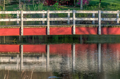 Red Reflections (Pt. 2) (tquist24) Tags: park bridge red reflection water reflections river bristol geotagged nikon unitedstates footbridge indiana hdr bonneyvillemillcountypark littleelkhartriver nikond5300