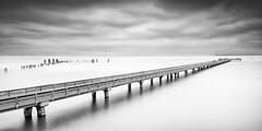 Take a Long Walk on a Long Pier (2.0) (Ron Rothbart) Tags: california longexposure blackandwhite bw water monochrome coast waterfront nd pointpinole neutraldensityfilter pointpinoleregionalpark 10stopfilter