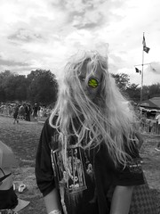 AFROPUNK SomeChickinBK (urlite_shine) Tags: blackandwhite woman newyork skull hologram streetphotography shades eccentric crossbones rockandroll afropunk hairblonde