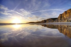 Contrails (pauldunn52) Tags: heritage wet wales reflections point temple bay coast sand cliffs glamorgan witches