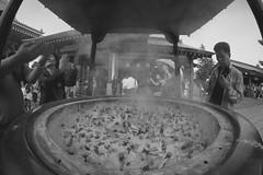 Up in smoke (thenorthernmonkey77) Tags: people blackandwhite bw canon temple sensoji tokyo shrine smoke fisheye tradition asakusa 8mm incense 70d