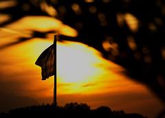 Flag at sunset / Zastava u sumrak (mardukkk) Tags: sky sun colors clouds outdoors greek nikon dusk flag greekflag nikond3200 grcka kamenavourla grka vurla nikoneurope kamenavurla