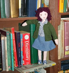 Jeanea wonders why I chose the hottest day so far to knit a sweater (Crazyquilter) Tags: handmade bookshelf clothdoll jeanae knittedsweater the100dayproject 100daysofjeanea