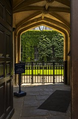 Closed (www.stevengreenphotogallery.com) Tags: door uk england building college grass sign wall architecture century carpet gate university arch text ivy tudor historic oxford lincoln gb railings 15th stonefloor