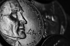 scarred (apg_lucky13) Tags: bw macro monochrome canon liberty 50mm blackwhite coin coins nickel jefferson mm upclose hmm anythinggoes 5c scarred jdc coinage kenko extensiontubes 56mmextension manwithcamera 40d macromondays jasdaco 30may2016
