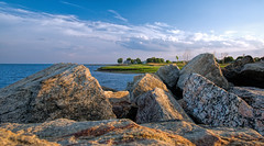 Blue Hour at Guilford Point (Bob Gundersen) Tags: ocean blue sunset sea usa sun water stone skyline port marina landscape outside photo seaside interesting sand nikon flickr exterior waterfront image shots outdoor connecticut sandy horizon country shoreline picture newengland ct places scene explore shore scenes gundersen longislandsound guilford conn whitfieldstreet towndock nikoncamera d600 lisound nikond600 connecticutscenes bobgundersen robertgundersen