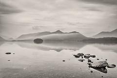 Derwent mists (John Gravett LPH) Tags: white lake black monochrome reflections mono district derwentwater lakeland lph catbells