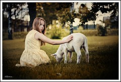 Friendship (salas-3) Tags: photo photography nikon white lamb dress face summer animal girl portrait