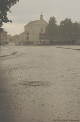 Cathedral of St. Michael and St. Gudula (Natali Antonovich) Tags: street history rain architecture landscape belarus citylandscape oldtown oldest oldworld oldtime novogrudok navahrudak stmichaelthearchangelchurch motherlandbelarus