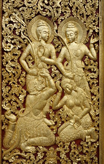 094. Laos . Luang Prabang. Wat Xien Thong (beatrice.boutetdemvl) Tags: detail temple buddhism thong laos wat xien luang prabang dtail bouddhisme ramayana