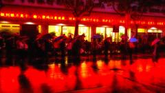 seeing red (Rob-Shanghai) Tags: shanghai rain red china busstop bus umbrella lights redlight sony a6000