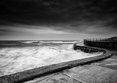 Overflow (David Ball Landscape Photography) Tags: uk travel light sea sky blackandwhite seascape storm nature water monochrome clouds canon landscape photography mono coast blackwhite moody cloudy outdoor fineart tones 2016 leefilters davidballlandscapephotography