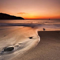 Golden Brown (Martin Mattocks (mjm383)) Tags: sunset sky orange seascape reflection square sand rocks cornwall surf glow bluehills stagnes trevaunancecove canoneos5dmarkii cornwalllandscapes mjm383 martinmattocksphotography