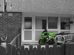 Lying in wait (Marty's White Suit) Tags: motorcycles motorbikes kawasaki selectivecolour