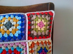 colourful granny cushion (Tea at Weasel's) Tags: square traditional crochet colourful granny