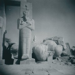 Rameses fallen (sonofwalrus) Tags: africa blackandwhite film temple holga lomo lomography ruins bricks columns egypt middleeast statues scan pillars luxor  rameseum hpc5380