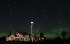 Whitefish Point Lighthouse under Aurora (yooper1949) Tags: lakesuperior northernlights whitefishpoint