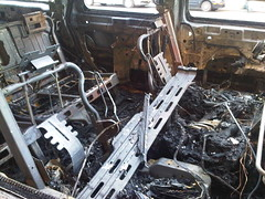 Back seats of burnt H2 (nabeeloo) Tags: nyc ny newyork car fire drive driving harlem manhattan burn hummer h2 hummvee hmmvv