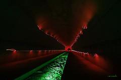 al final del tnel (Cani Mancebo) Tags: espaa verde spain rojo negro explore murcia nocturna cartagena tnel longexposuretime largaexposicin lighpainting explored canimancebo