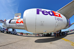 FedEx FishEye (tkolos) Tags: canon cargo fisheye airshow boeing fedex 8mm 757 pease 40d