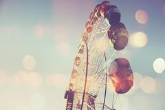 (Amanda Mabel) Tags: carnival blue summer sky stilllife colour childhood vintage fun lights ride bokeh magic carousel ferriswheel amusementpark amandamabel