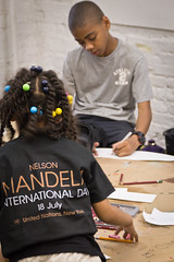 Nelson Mandela Day at ProjectArt, Harlem (Africa Renewal) Tags: street nyc school summer camp inspiration ny newyork art public kids painting children words harlem un unitednations upperwestside inspire nelsonmandela handingout projectart mandeladay