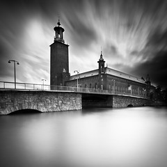 Venice Of Scandinavia.. (Peter Levi) Tags: city longexposure bridge blackandwhite bw building blancoynegro water architecture clouds stream cityscape sweden stockholm cityhall le stadshuset nd110 mygearandme mygearandmepremium mygearandmebronze mygearandmesilver mygearandmegold mygearandmeplatinum