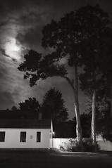 Moon over MHC (frntprchprss) Tags: blackandwhite moon night clouds ma southhadley mountholyokecollege