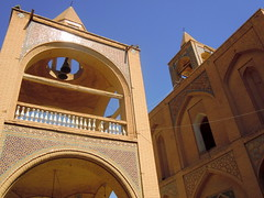Iranian church tower (Germn Vogel) Tags: brown brick tower architecture facade asia iran cathedral bell religion middleeast christian christianity isfahan armenian vank brownandblue islamicrepublic westasia julfa gettyimagesmiddleeast