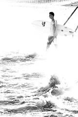 Face the waves I [BW] (Marco_Fregiaro) Tags: sunset sea bw white black beach water nikon surf tramonto mare waves board surfing bn acqua bianco nero spiaggia onde seastorm d90 mareggiata surefer