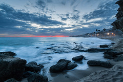 Aliso Beach - Line of Fire (CrapulePHL) Tags: trees sunset sky beach water clouds canon fire rocks surf raw waves palm line iso blended 100 10s usm laguna f80 efs 1022mm exposures 10mm aliso 25s f3545
