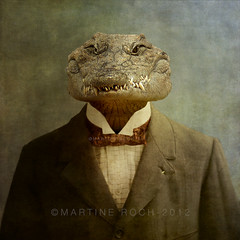 The Boss (Martine Roch) Tags: boss portrait man animal vintage square funny surreal retro crocodile photomontage imagination martineroch flypapertextures