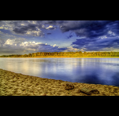 Missouri River Blues 2 (Matthew Gilliam Photography) Tags: blue sky water yellow clouds photoshop river landsca
