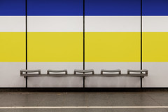 Seating Bench with Blue and Yellow Stripe (yushimoto_02 [christian]) Tags: blue urban abstract lines station yellow architecture train bench underground subway munich mnchen linie transport minimal line transportation architektur munchen subwaystation minimalism minimalistic minimalist muenchen abstrakt architectura minimalismus seatbench stringentsymmetry