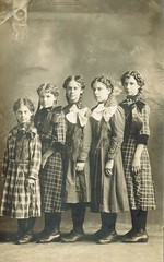 Do you suppose they're all sisters, or might a cousin or two be thrown in? (sctatepdx) Tags: vintagedresses vintagehair rppc realphotopostcard