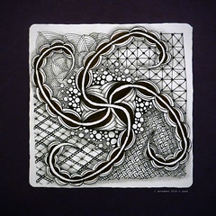 string 25 (shebicycles) Tags: bw abstract pen pencil ink tile doodle tps zentangle string25