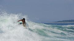 The Dreaded Lone Surfer (Sailor Alex) Tags: green mexico alone break surfer wave surfing lone solitary guerrero manzanillobay