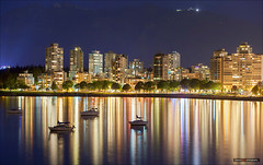 Harbour Lights (Clayton Perry Photoworks) Tags: canada skyline night vancouver buildings reflections boats lights spring bc ships explorebc explorecanada